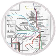 The Chicago Pubway Map Round Beach Towel