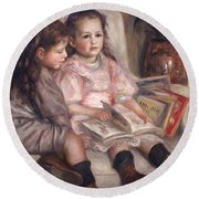 The Children Of Martial Caillebotte Round Beach Towel by Pierre Auguste Renoir