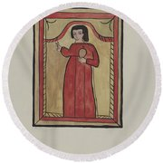 The Christ Child-retalba El Nino Perdido, (the Lost Child) A Retabla Round Beach Towel