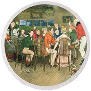 The Christmas Dinner At The Inn Round Beach Towel
