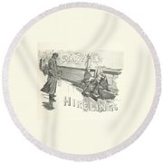The Christmas Hirelings Round Beach Towel