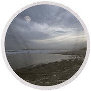 The Christmas Moon Round Beach Towel