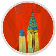 The Chrysler And The Empire State Round Beach Towel