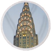 The Chrysler At Dusk Round Beach Towel