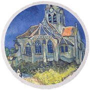 The Church At Auvers Sur Oise Round Beach Towel by Vincent Van Gogh