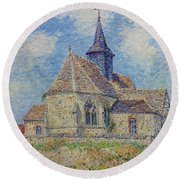 The Church At Porte-joie On The Eure By Gustave Loiseau Round Beach Towel
