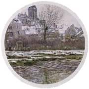 The Church At Vetheuil Under Snow Round Beach Towel by Claude Monet
