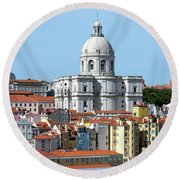 The Church Of Santa Engracia And Rooftops -- Lisbon Round Beach Towel