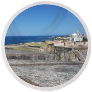 The City Awaits Round Beach Towel