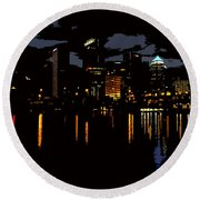 The City Dark Round Beach Towel