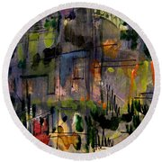 The City Garden Round Beach Towel