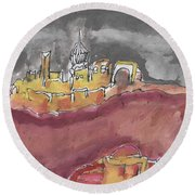 The City Of Nineveh With Stormfront Round Beach Towel