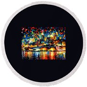 The City Of Valetta - Malta Round Beach Towel