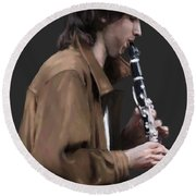 The Clarinet Player Round Beach Towel