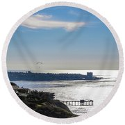 The Cliffs, Ocean And Sky At La Jolla, California Round Beach Towel