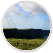 The Cliff's Of Moher In Ireland With Beautiful Skies Round Beach Towel