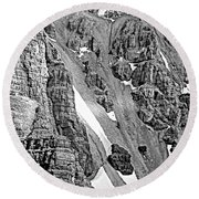 The Climb To Abbot's Hut Bw Round Beach Towel