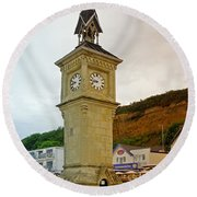 The Clock Tower At Shanklin Round Beach Towel