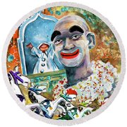 The Clown Of Tivoli Gardens Round Beach Towel