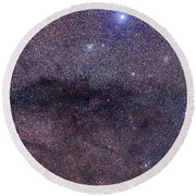 The Coalsack And Jewel Box Cluster Round Beach Towel