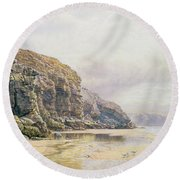 The Coast Of Cornwall  Round Beach Towel by John Mogford