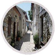 The Cobbled Back Streets Surrounding Old Marmaris Round Beach Towel