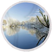 The Cold River Round Beach Towel
