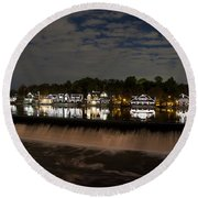 The Colorful Lights Of Boathouse Row Round Beach Towel