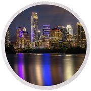 The Colorful Neon Lights On The Austin Skyline Shine Bright Round Beach Towel