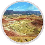 The Colorful Painted Hills In Eastern Oregon Round Beach Towel