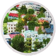 The Colors Of Reykjavik Round Beach Towel