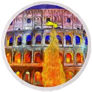 The Colosseum And Christmas  - Van Gogh Style -  - Da Round Beach Towel