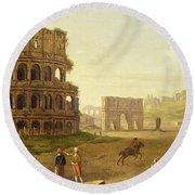 The Colosseum Round Beach Towel by John Inigo Richards