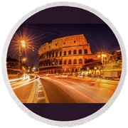 The Colosseum, Rome, Italy Round Beach Towel