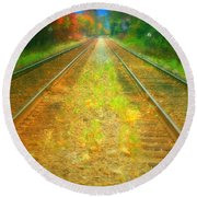 The Colour Along The Tracks Round Beach Towel