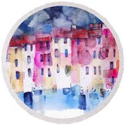 The Coloured Houses Of Portofino Round Beach Towel