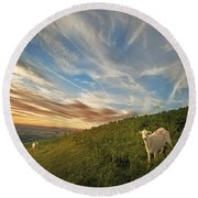 The Colours Of The Evening Round Beach Towel by Angel  Tarantella