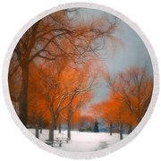 The Colours Of Winter Round Beach Towel