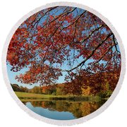 The Comfort Of Autumn Round Beach Towel