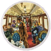 The Comfort Of The Pullman Coach Of A Victorian Passenger Train Round Beach Towel