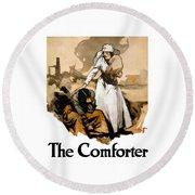 The Comforter - World War One Nurse Round Beach Towel