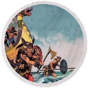 The Coming Of The Vikings Round Beach Towel