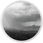 The Coming Storm Black And White Round Beach Towel