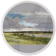 The Coming Storm, Early Spring Round Beach Towel