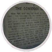 The Comstock Lode Marker Round Beach Towel