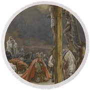 The Confession Of Saint Longinus Round Beach Towel by Tissot