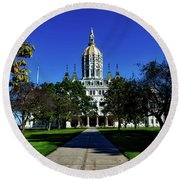 The Connecticut State Capitol Round Beach Towel