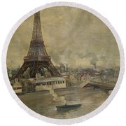 The Construction Of The Eiffel Tower Round Beach Towel by Paul Louis Delance