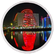 The Convention Centre Reflection Round Beach Towel