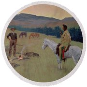 The Conversation Round Beach Towel by Frederic Remington